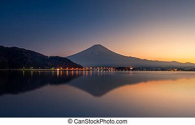 山, 反映湖, 富士, 日落, kawaguchi
