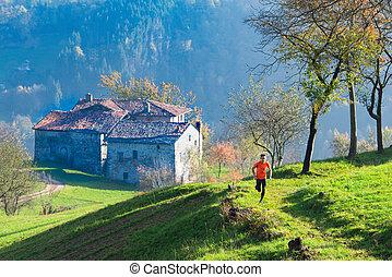 山, 古い, ランナー, 村落, 翼, イタリア語