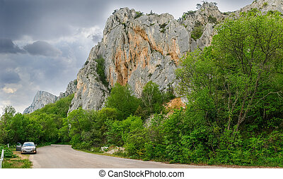 山, 古い, 巻き取り, 森林, 崖, 道