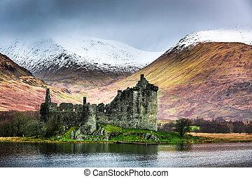 山, 古い, 雪が多い, 台無しにされる, 背景, 城