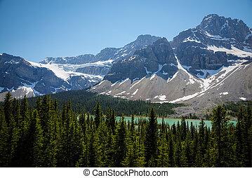 山, 国立公園, 湖, banff