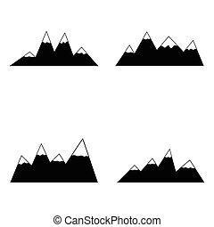 山, 图标, set.