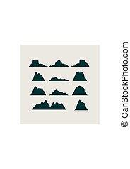 山, 圖象, set., 矢量, 山, 風景
