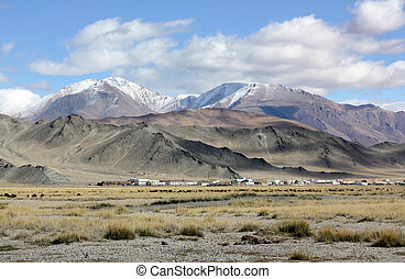 山, 土地, yurt, mongolia, 内部, 背景, 草