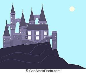山, 城堡, 老