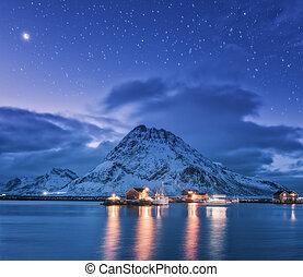 山, 多雪, 釣魚, 海, 夜晚, 小船, 碼頭