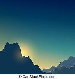 山, 夜明け