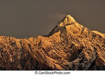 山, 夜明け, ピークに達しなさい