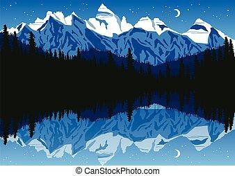 山, 夜空, 湖, マツ 森林, 下に