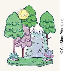 山, 太陽, 自然, 木, 雪が多い