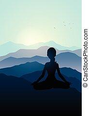 山, 女性が瞑想する