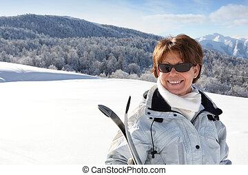 山, 女性, 成長した, スキーヤー