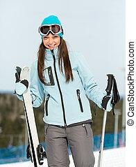 山, 女, スキーヤー, 半分長さ, 肖像画