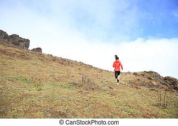 山, 女, ランナー, 若い, 小道ラニング, ピークに達しなさい