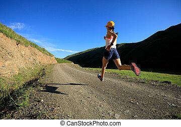 山, 女, ランナー, 若い, 小道ラニング, フィットネス