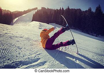 山, 女, 冬, 若い, 1(人・つ), snowboarding