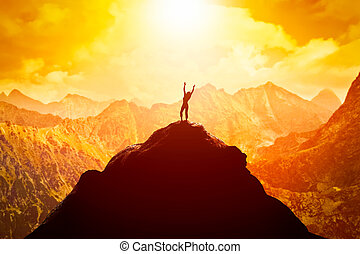 山, 女, 成功, 自由, 明るい, ピークに達しなさい, future., 楽しむ, 幸せ