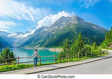 山, 女, 立つ, 若い, 湖, オーストリア