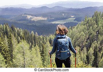 山, 女, 若い, ハイキング