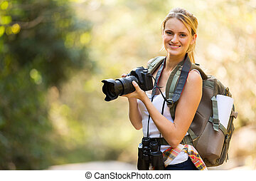 山, 女, dslr, 若い, カメラ, 保有物