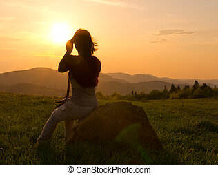 山, 婦女, 黑色半面畫像, 傍晚