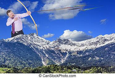山, 射箭, 实践, 前景, 商人, 山谷