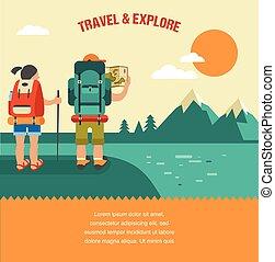 山, 小山, 背包徒步旅行者, 葡萄酒, 森林, 矢量, 背景