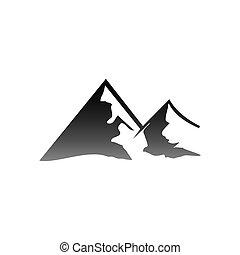 山, 屋外, 遠征隊, イラスト, ベクトル, 冒険, logo.
