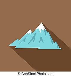 山, 岩が多い, アイコン, スタイル, 平ら