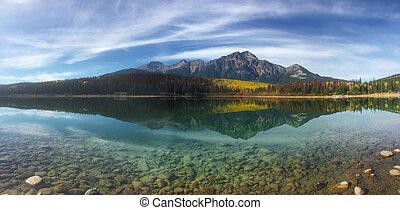 山, 岩が多い, パノラマ, 反映された, 秋, ポプラ