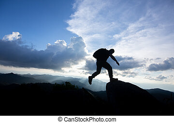 山, 岩が多い, 上に, 2, 自由, 絶壁, 跳躍, 人, ∥間に∥, sunset., 危険, 挑戦, success.