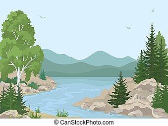 山, 川の景色, 木