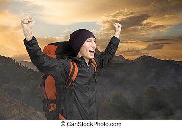 山, 幸せ, 観光客, 背景, sunset.