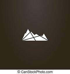 山, 幾何学的, 平ら, ベクトル, 芸術, シルエット, 印, 岩が多い