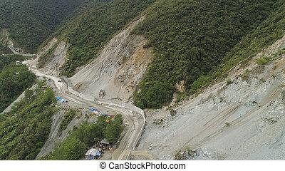 山, 建設, フィリピン, road., luzon.