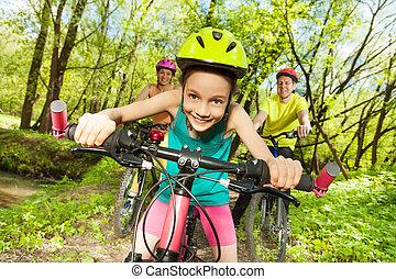 山, 彼女, かわいい, 公園, 自転車乗馬, 女の子