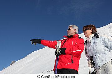 山, 恋人, スキー, 成長した