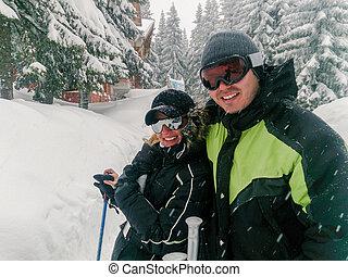山, 恋人, 楽しみ, 休日, スキー, 持つこと