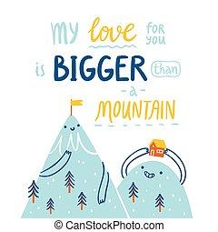 山, 愛, より, より大きい