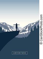 山, 懸崖, 遠足, 女孩, 多雪, 冒險