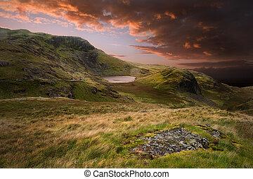 山, 戲劇性, 傍晚, 風景, 喜怒無常