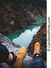 山, 探検家, 自然, 上に, モデル, フィート, 峡谷, 川