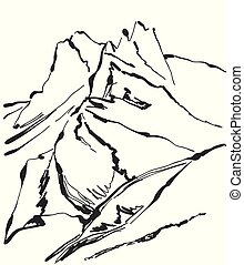 山, 插圖, 手, 矢量, 畫, 風景