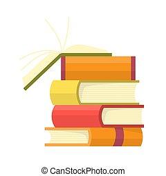 山, 教育, 開いた, illustration., 小ガモ, カラフルである, バックグラウンド。, ベクトル, 本, 本