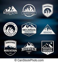 山, 旅行, 屋外, 冒険, ロゴ, set., ハイキング, そして, 上昇, ラベル, ∥あるいは∥, アイコン,...