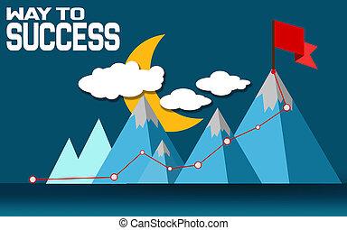 山, 旗, ピークに達しなさい, 方法, 成功