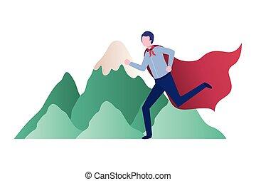 山, 旗, 動くこと, ビジネスマン