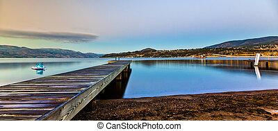 山, 日の出, 湖, ドック, 景色