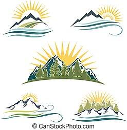山, 日の出, 自然, アイコン, set.
