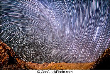 山, 星, 螺旋